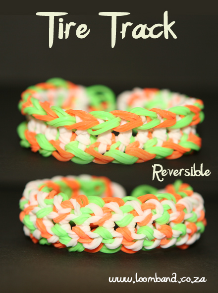 Tire Track loom band bracelet tutorial