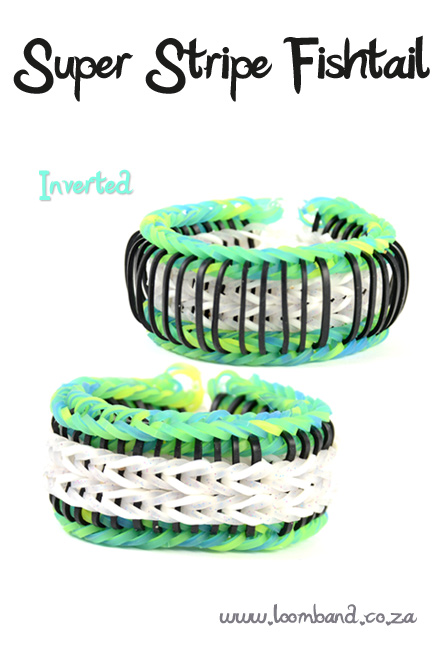 Super stripe fishtail loom band bracelet tutorial