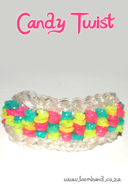 Candy Twist loom band bracelet tutorial