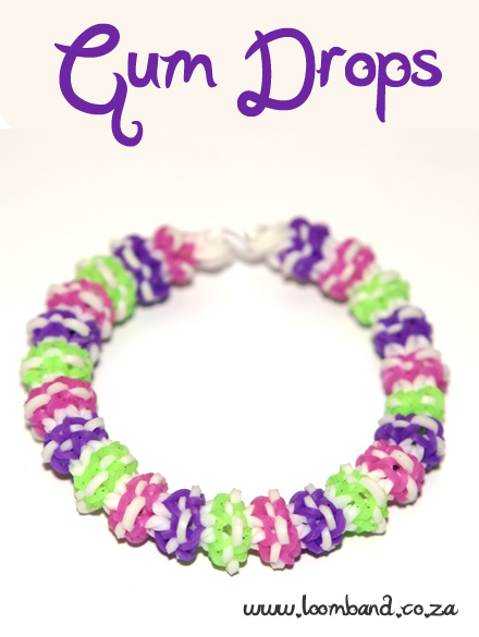 Gum Drops loom band bracelet tutorial