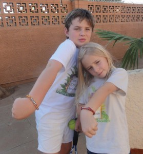 Mark and Melissa with Loom band bracelets