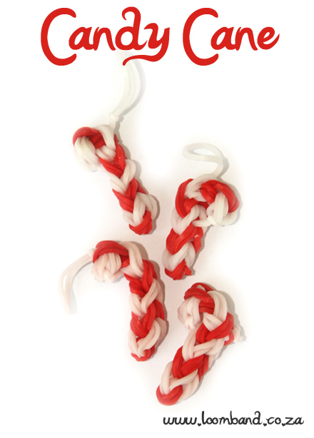 Candy Cane loom band charm tutorial-loomband