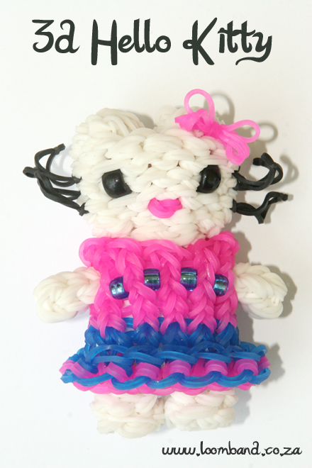 3D Hello Kitty loom band tutorial - loomband SA